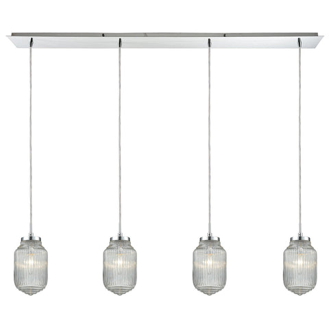 Dubois 4-Light Linear Pendant Fixture in Polished Chrome