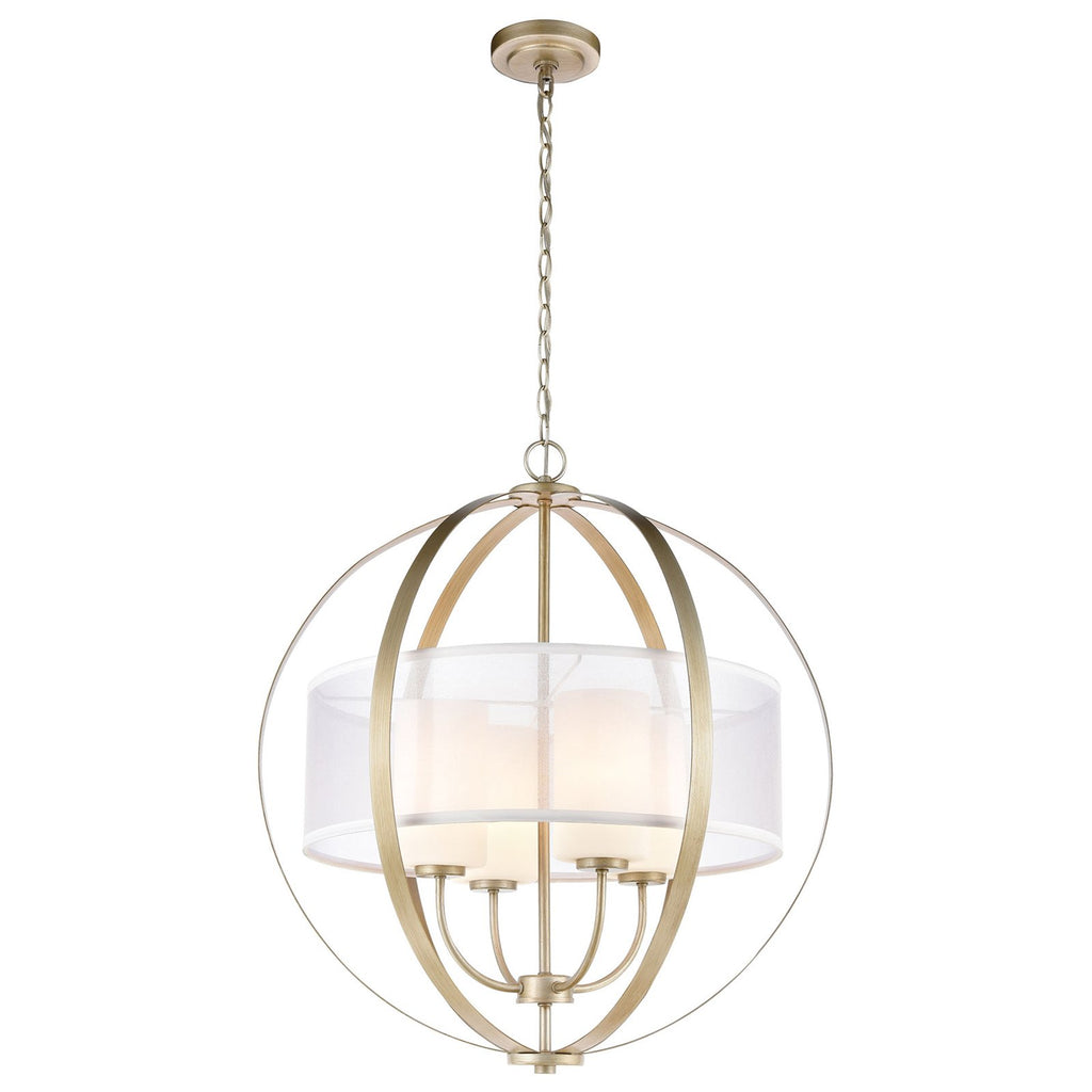 Diffusion 4-Light Chandelier in Aged Silver