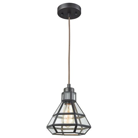 Window Pane 1-Light Mini Pendant in Oil Rubbed Bronze with Clear Glass