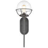 Girard 1-Light Sconce in Charcoal with Clear Glass