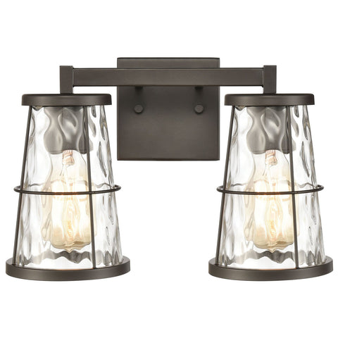 Kendrix 2-Light Vanity Light in Oil Rubbed Bronze with Water Glass