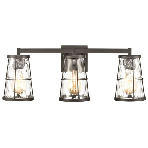 Kendrix 3-Light Vanity Light in Oil Rubbed Bronze with Water Glass