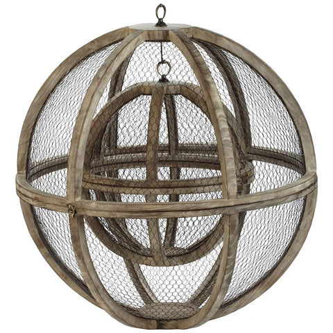 Wire Atlas Spheres in Natural - Set of 2