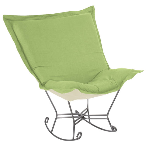 Linen Slub Scroll Puff Rocker - Titanium Frame