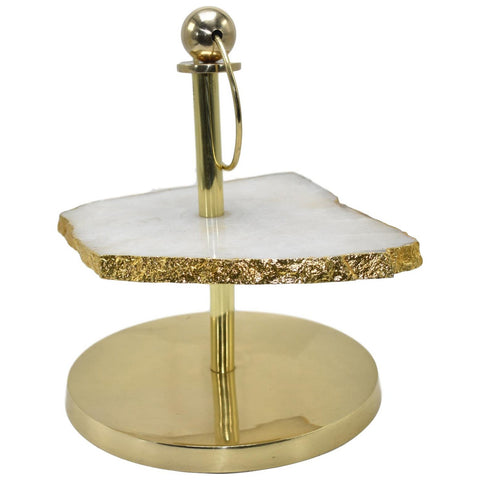 1-Layer Cloudy Quartz Display Stand with Gold Trim