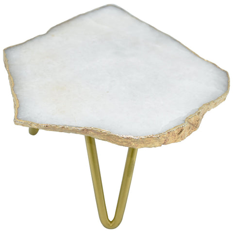 1-Layer Cloudy Quartz Cake Stand with Gold Trim