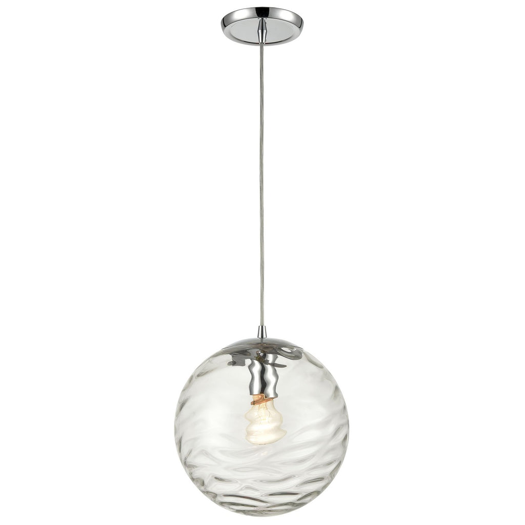 Water's Edge 1-Light Mini Pendant in Polished Chrome with Water Glass