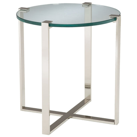 Uptown Side Table in Polished Nickel with Clear Glass