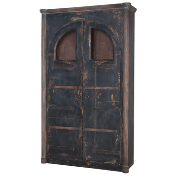 Farmhouse Rustic Armoire in Natural Aged Stain and Vintage Noir