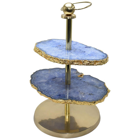 2-Layer Blue Agate Display Stand with Gold Trim
