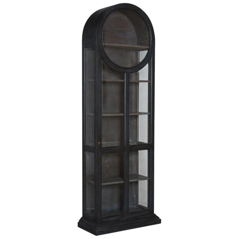 Round Top Display Cabinet in Gray