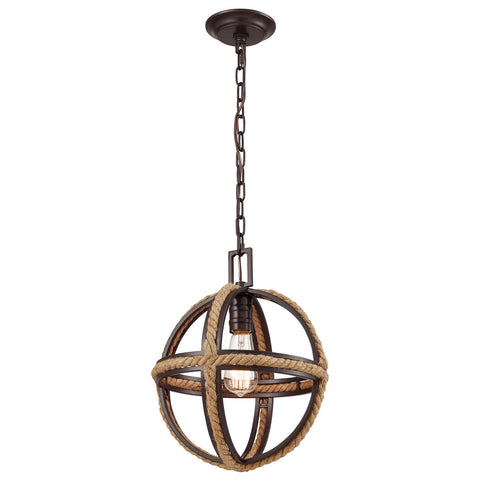 Natural Rope 1-Light Mini Pendant in Oil Rubbed Bronze
