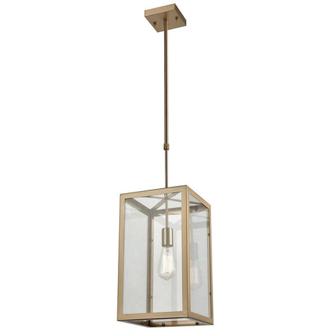 Parameters 1-Light Chandelier in Satin Brass with Clear Glass