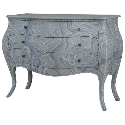 Bombay Chest in Grain De Bois Griege with Hand Painted Wood Grain Art