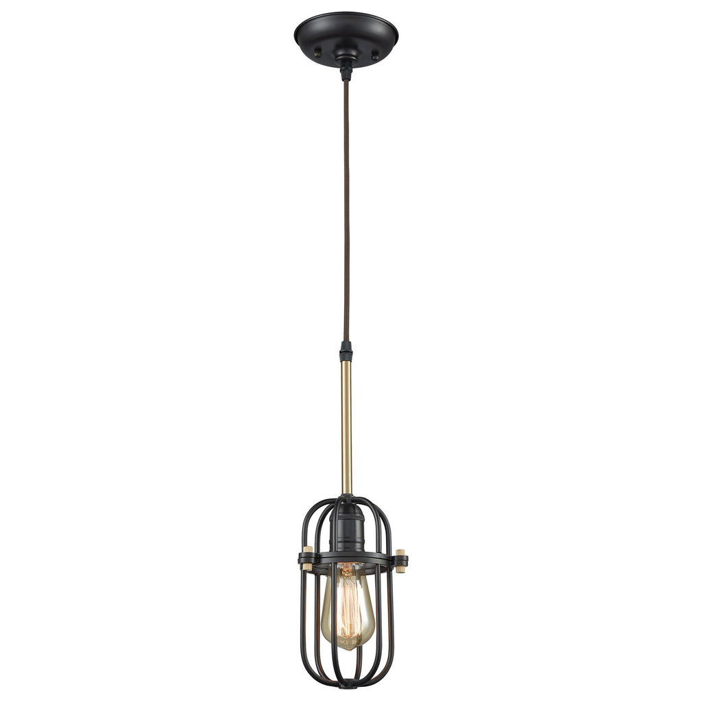 Binghamton 1-Light Mini Pendant in Bronze and Satin Brass