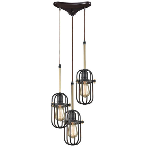 Binghamton 3-Light Triangle Pan Pendant in Oil Rubbed Bronze and Satin Brass
