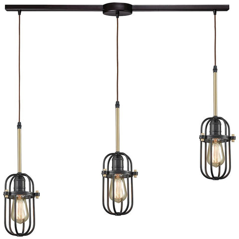 Binghamton 3-Light Linear Bar Pendant in Oil Rubbed Bronze and Satin Brass