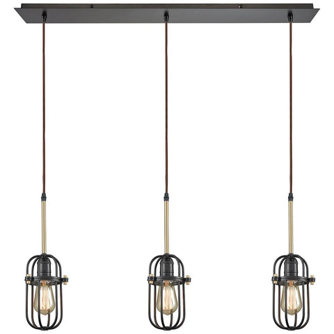 Binghamton 3-Light Linear Pan Pendant in Oil Rubbed Bronze and Satin Brass