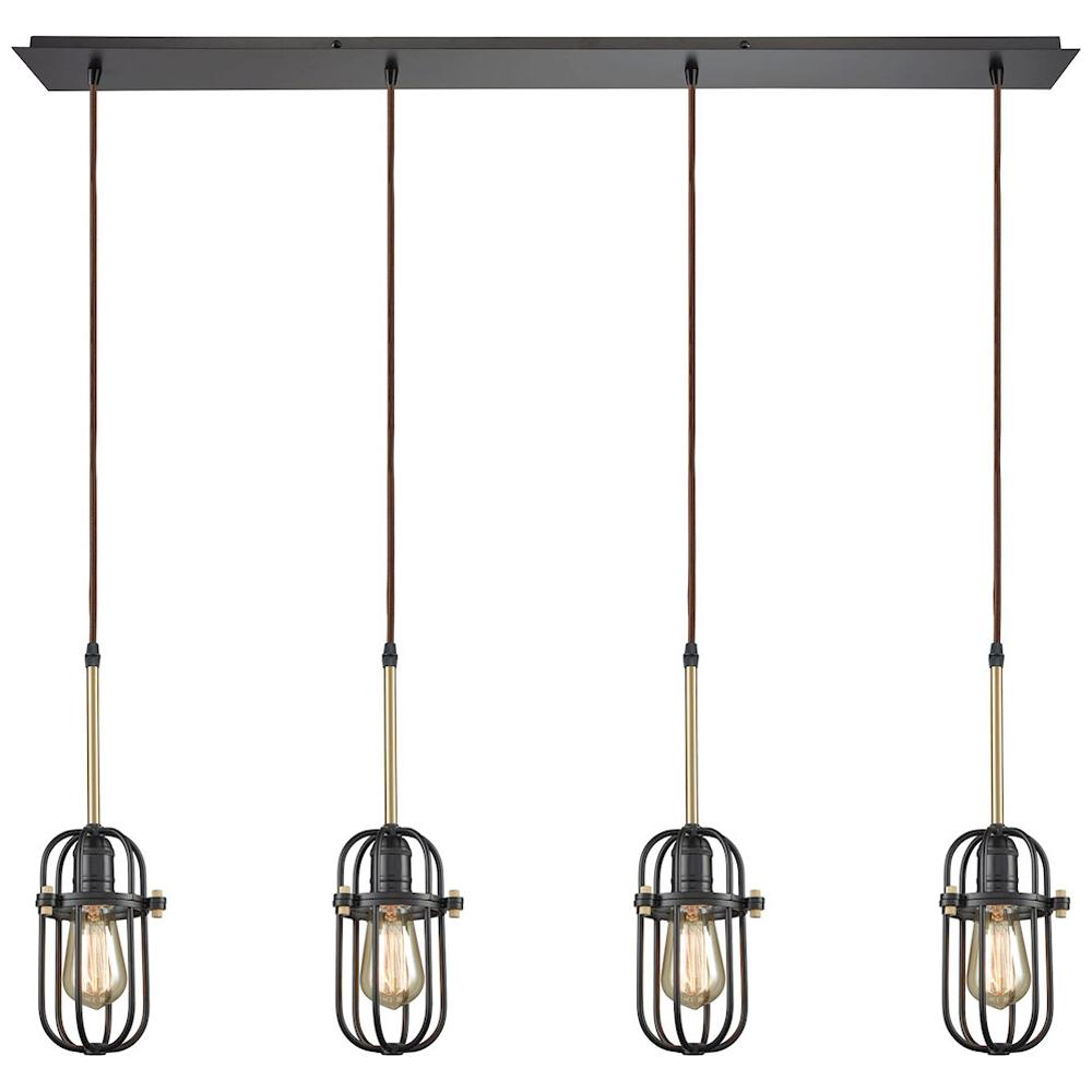 Binghamton 4-Light Linear Pan Pendant in Oil Rubbed Bronze and Satin Brass