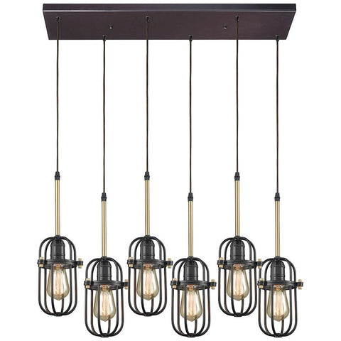 Binghamton 6-Light Rectangle Pendant in Oil Rubbed Bronze and Satin Brass