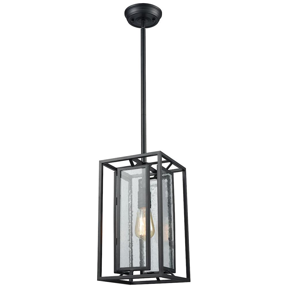 Eastgate 1-Light Pendant in Textured Black with Seedy Glass