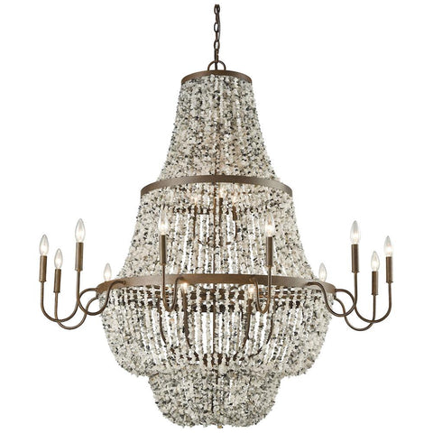 Agate Stones 21-Light Chandelier in Weathered Bronze with Gray Agate Stones