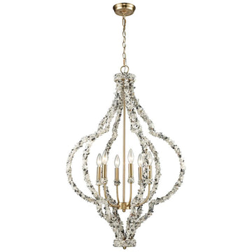 Agate Stones 6-Light Chandelier in Satin Brass with Agate Stone Wrapped Frame