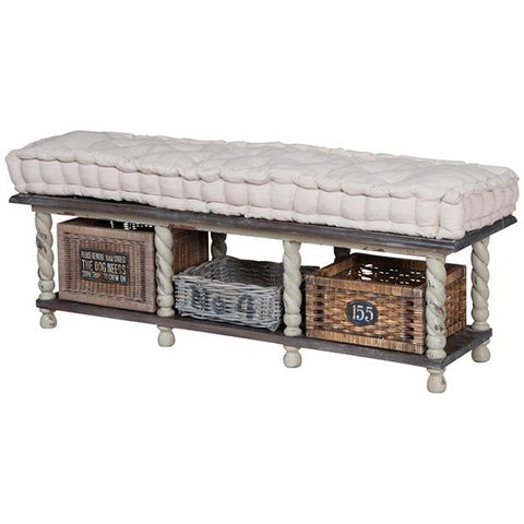 European farmhouse storage bench in Gray