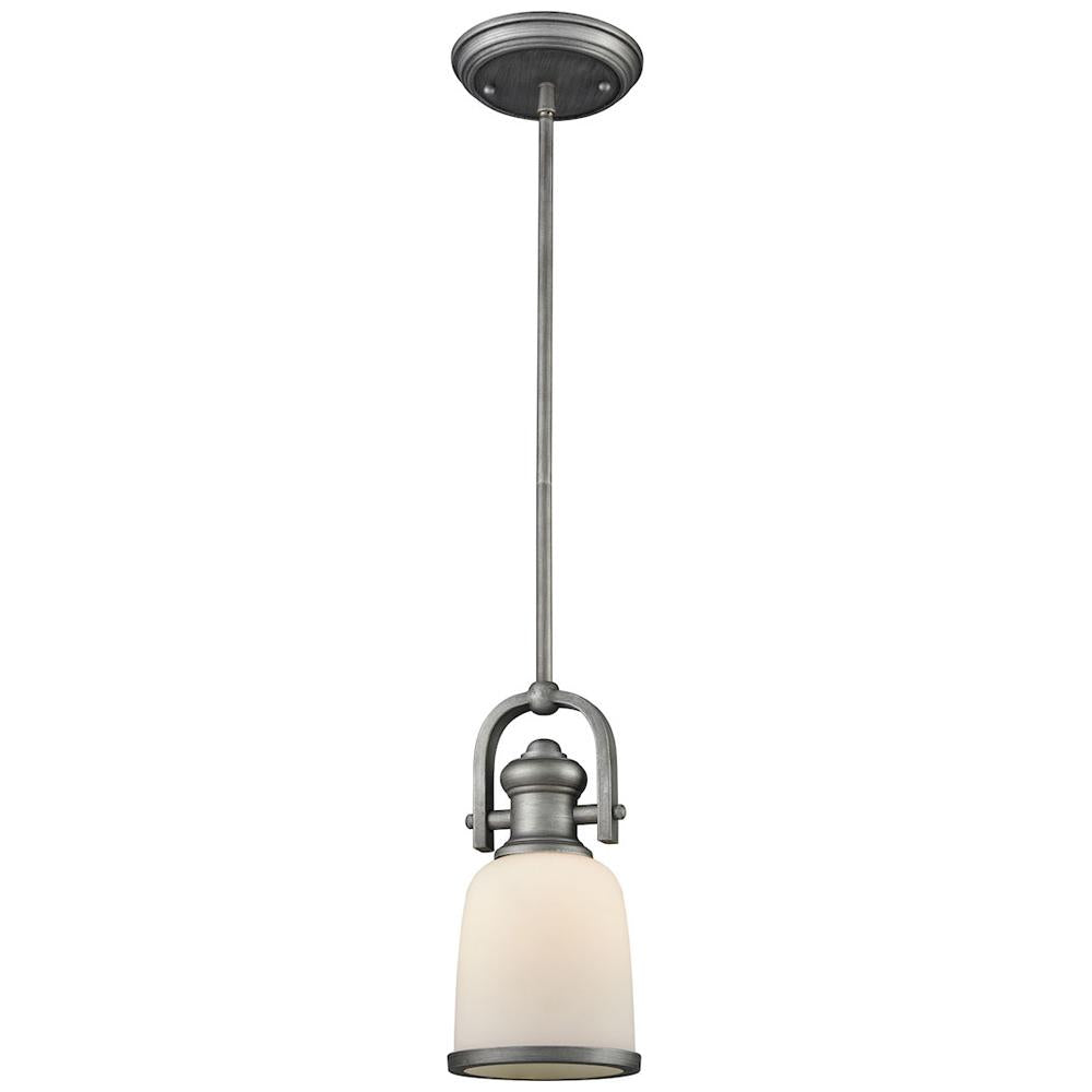 Brooksdale 1-Light Pendant with White Glass