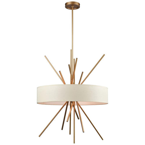 Xenia 5-Light Chandelier With Beige Fabric Shade