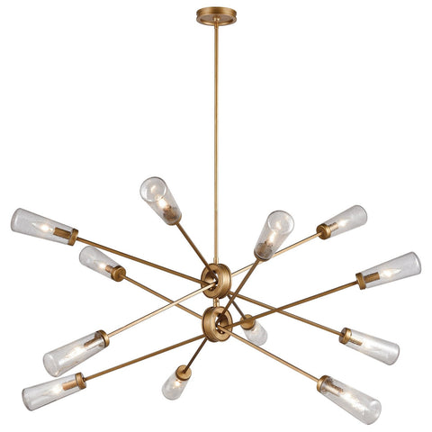 Xenia 12-Light Chandelier in Matte Gold with Seedy Glass