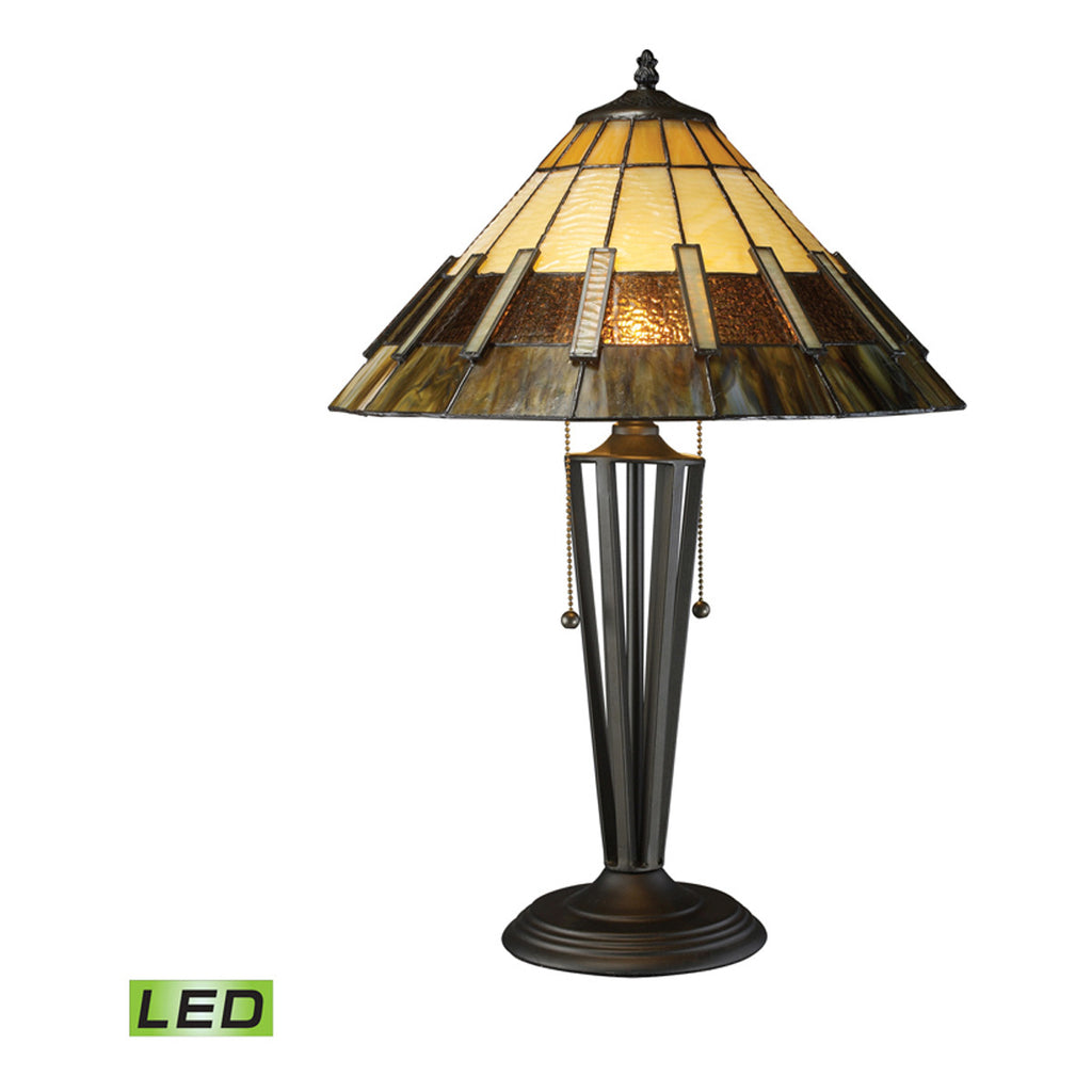 Porterdale Tiffany Glass LED Table Lamp, Tiffany Bronze