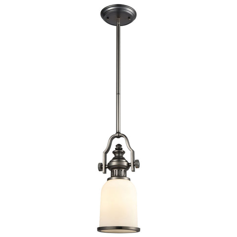 Chadwick 1-Light Mini Pendant in Black Nickel with White Glass