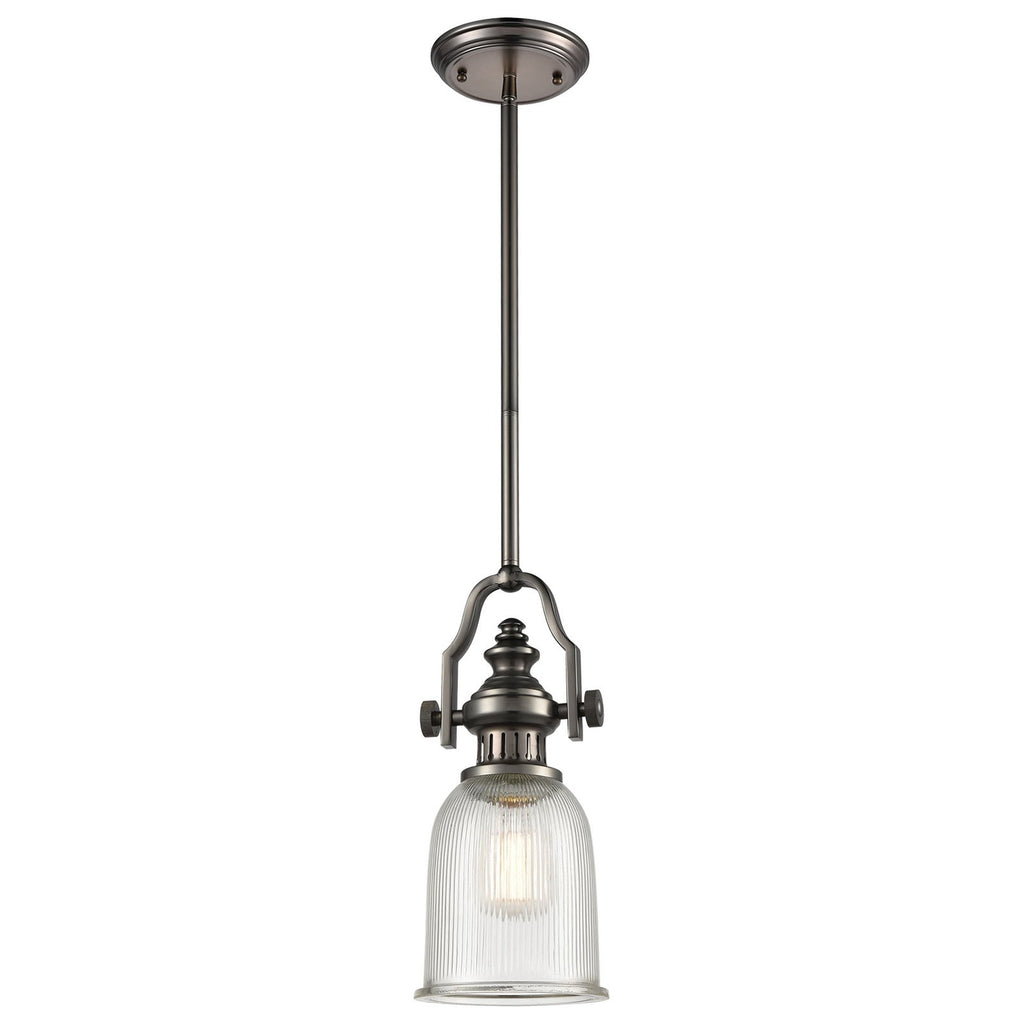 Chadwick 1-Light Mini Pendant in Black Nickel with Halophane Glass