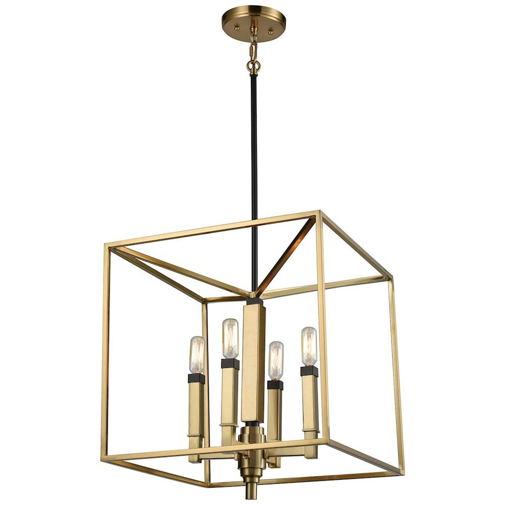 Mandeville 4-Light Chandelier in Satin Brass with Oil Rubbed Bronze Accents