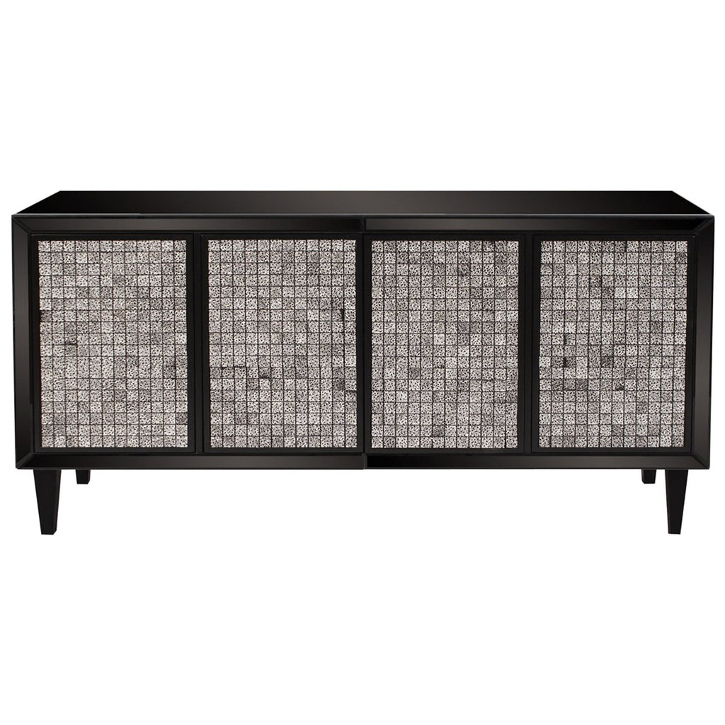 Glossy Black Cabinet with Tile Front