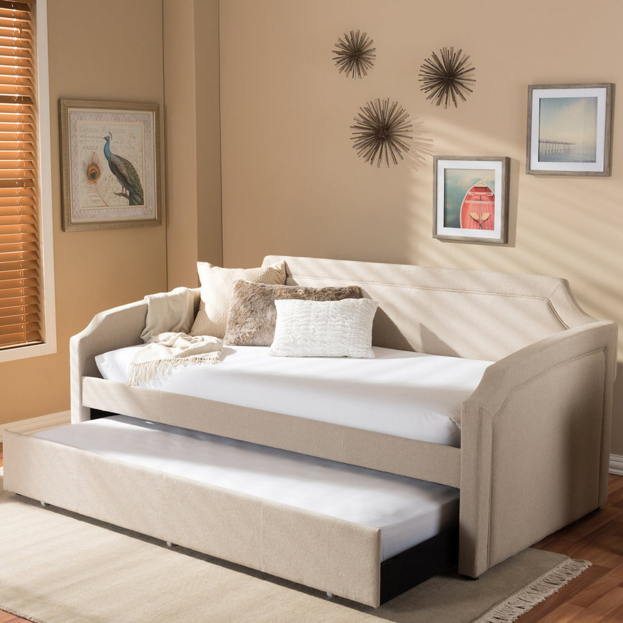 Baxton Studio Parkson Sofa Twin Daybed with Roll-Out Trundle Guest Bed