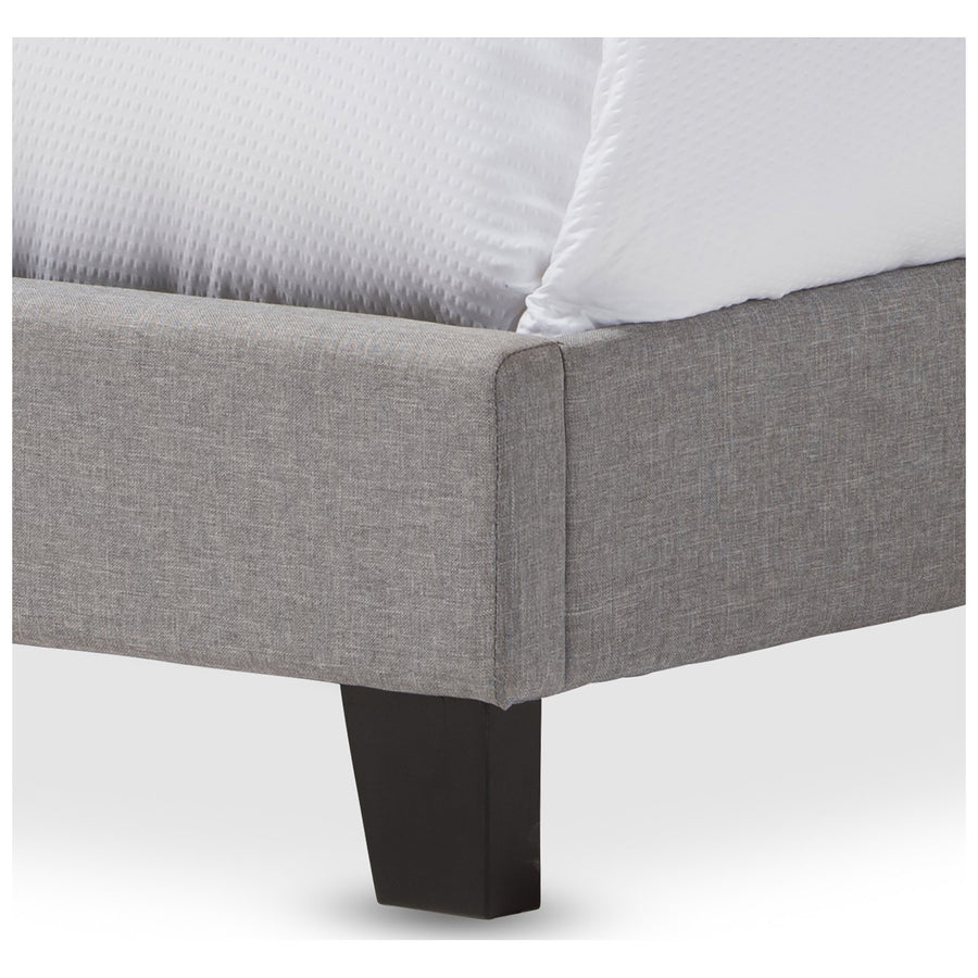 Baxton Studio Ramon Linen Upholstered Queen Size Bed with Nail Heads