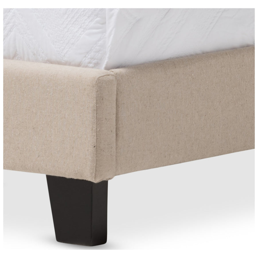 Baxton Studio Paris Linen Upholstered Twin Size Tufting Bed