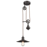 Spindle Wheel 1-Light Adjustable Pendant