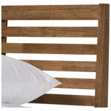 Baxton Studio Daylan Solid Walnut Wood Slatted Platform Bed