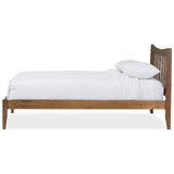 Baxton Studio Edeline Solid Walnut Wood Curvaceous Slatted Platform Bed
