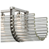 Crystal Rods 6-Light Linear Chandelier in Weathered Zinc and Polished Nickel