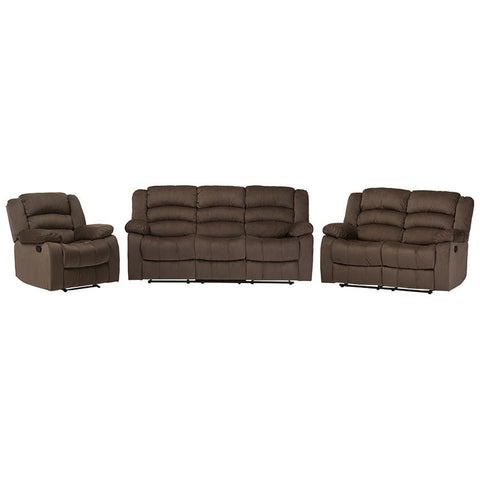 Hollace Taupe Microsuede Sofa Loveseat and Chair Set 5-Recliner Living Room Set