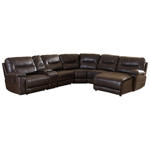Mistral Dark Brown Bonded Leather Sectional with Recliners Corner Lounge Suite