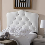 Baxton Studio Rita Faux Leather Button-Tufted Scalloped Twin Headboard