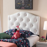 Baxton Studio Myra Faux Leather Button-Tufted Scalloped Twin Headboard