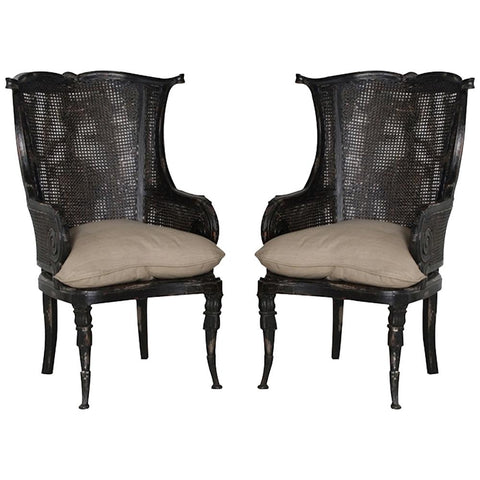 Caned Wingback Chair, Set of 2
