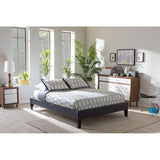 Baxton Studio Lancashire Upholstered Size Bed Frame with Tapered Legs