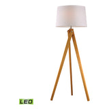 Wooden Tripod 1-Light Natural Wood Tone Floor Lamp